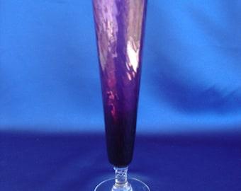 Glass bud vase amethyst swirl