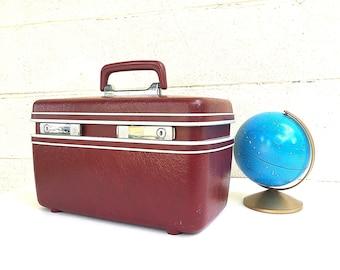 Burgundy TRAIN CASE | Vintage c. 1970s Maroon/Wine Hard-Side Samsonite Luggage | Ox-Blood Cosmetic Case | Retro Carry-on | Samsonite Profile
