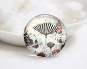 Handmade Round Floral Photo Glass Cabochons (P3512)