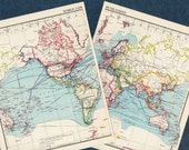 1951 Antique WORLD Map of the World communications 1900s atlas regions Map