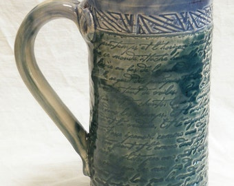 Stoneware 20oz artisan script ceramic coffee mug 20B080