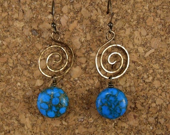 Blue Swirls and Stones Earrings