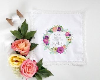 STEPMOTHER of the Bride or Groom printed handkerchief with your choice of floral graphic and your choice of hanky style, scalloped, lace