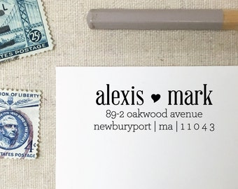 Two Names Wooden Address Stamp. Heart Personalized Stamper. Self-Inking Rubber Stamp. Style 27. Custom Wedding Stamp. Couple Names Stamp.