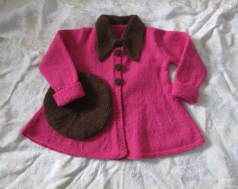 Hand Knit Toddler Girl Sweater Coat Beret Size 4T Vintage 1940s Style