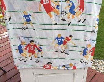 Vintage, twin sheet, soccer sheet, flat sheet, soccer, 1988, retro, bedding, linens, fabric, sport,