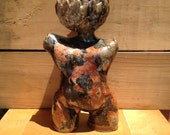 Gold, Black and Orange Toned Ceramic Planter. Garden Sculpture, Succulent Planter, Cactus Planter, Flower Pot