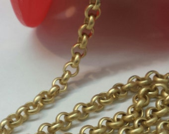 5.7mm Rolo Chain Gold Matte Finish Chain By The Foot