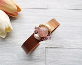 Copper Cuff Bracelet - Rustic Cuff Bracelet - Rustic Jewelry - Bohemian Jewelry - Beaded Cuff - Stacking Bracelet - Gift Idea For Her