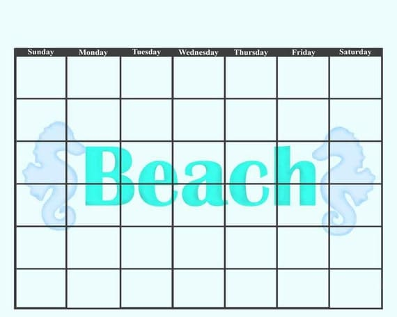 Blank Kitchen Calendar : Beach teal turquoise sea tropical calendar seahorse