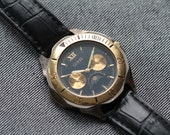 Vintage Guess Mens Watch Moonphase Black leather strap