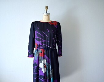 Vintage 1980s dress . 80s dark floral print dress