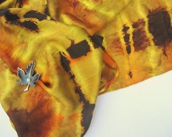 Silk Satin Scarf Ice Dyed in Yellow, Orange, and Chocolate Brown.