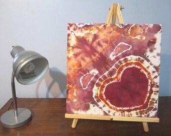Tie Dyed Heart Wall Art in Maroon, Purple, and Rusty Orange