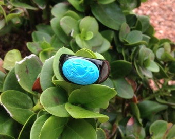 Italian Bold Genuine Onyx Band Carved Turquoise Cameo Ring 6 1/2 US