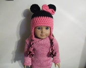 """Minnie Mouse Doll hat will fit 18"""" American Girl doll also fits Bitty Baby"""