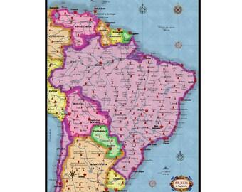 BRAZIL Vintage Map 3G- Handmade Leather Wall Hanging - Travel Art