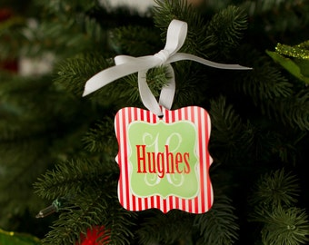 Christmas Ornament Stripes - Personalized Christmas Ornament - Holiday Ornament - Christmas Decor - Tree Ornament - Holiday Decor - Gifts