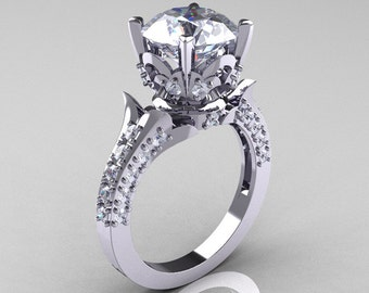 Classic French 10K White Gold 3.0 Carat White Sapphire Solitaire Wedding Ring R401-10KWGWS