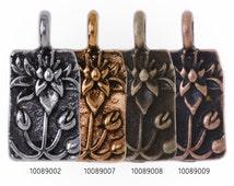 20 Metal Flower Charm Lotus Print on Rectangle pendant  blooming flower Charm 18x9mm 100890