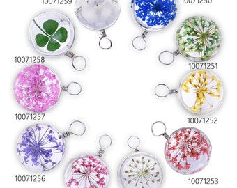 10PCS Real Pressed Flower Glass Dome Pendant Botanical Jewelry 20mm 100712
