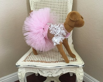 Coup de Foudre Dog Dress, Baby Pink