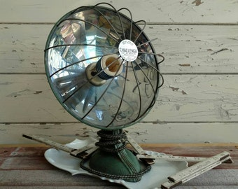 Antique Industrial Cast Iron Working Heat Lamp - Vintage Heater by Challenger, Retro Heat Light / Lamp That Works, Home Decor + Lighting