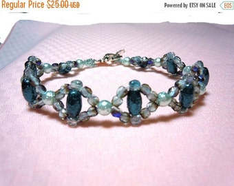 Clearance Sale OOAK - Crystal and Pearl Bracelet - Two Tone Teal/Blue Crystals -  Aqua Oval Pearls - Seed Beads - Toggle Clasp