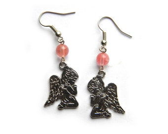 Silver Child Angel Earrings With Cherry Quartz Beads