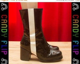 ON SALE Vintage 60s 90s CLASSIFIED Club Kid Chunky Motorcycle Patent Moto Black White Stripe Twiggy Mod GoGo Boots Booties Women's Shoes 6