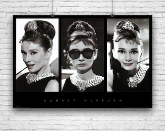 "Audrey Hepburn, Actress & Screen Legend, Triple Collage Photography Poster - 24""x36"""