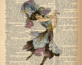 Dictionary Art Print - Flower Fairy Girl - Upcycled Vintage Dictionary Page Poster Print - Size 8x10