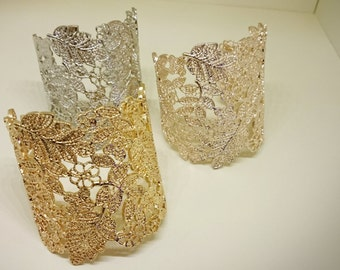 Ready to Ship - Gold Lace Bridal Cuff, Metal Lace Cuff, Lace Bracelet, Lace Floral Cuff Bracelet, Gold Filigree, Rose Gold Cuff Bracelet