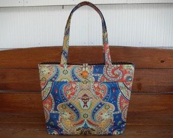 Handbag Purse Tote Bag Accessories Women Handbag Extra Large Tote Bag Shoulder Bag in Blue with burnt orange, gold paisley