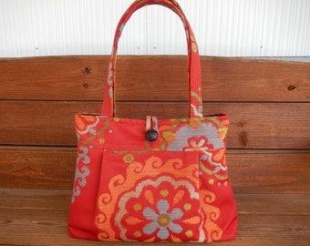 Handbag Purse Fabric Handbag Accessories Women Handbag Pleated Bag Large Shoulder Bag in Red with Medallion, Sunflower Print