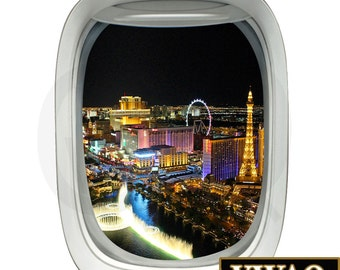 las vegas strip aerial view airplane window decal vinyl decal view mural peel and stick aviation - Aviation Decor