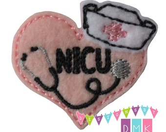 Nurse Heart - NICU - You CHOOSE Felt Color - Embroidered Embellishment Clippie Cover SET of 4  Multiple Sets Available