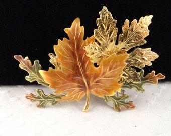 Vintage Enameled, Autumn Leaves Brooch