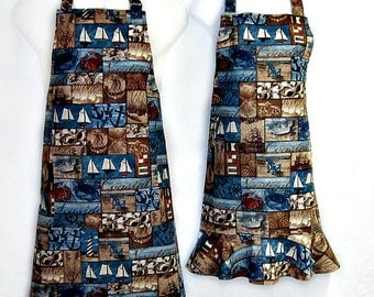 Apron HIS & HERS, SEASIDE, Sea and Sand, Sailing Ships, Anchors, Lighthouses, Grill Unique Kitchen Gift