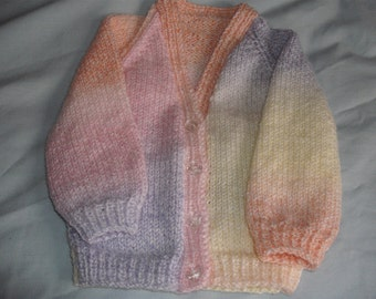 hand knitted baby sweater 3 - 6 months in King Cole DK multi color