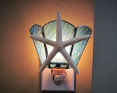 Starfish Night Light - Ocean Blue Mixed Ripple Glass Handcrafted Authentic Stained Glass - Authentic Starfish - Wide Fan Design