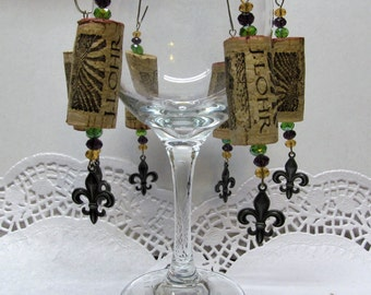 Wine Cork Ornaments with Fleur de Lis Pewter Charm- Holiday Package Embellishment - Swarovski Crystals - Fun - Whimsical - Wine Tree Decor
