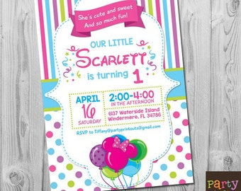 Minnie Mouse First Birthday Invitation, Printable Minnie Mouse First Birthday Invites, First Birthday Invitation for Girl
