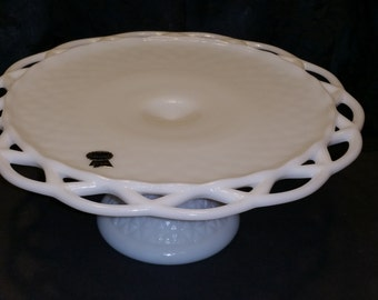 Imperial White Milk Glass Cake Stand with Original Sticker - Never Used!