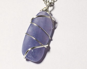 Chalcedony Necklace February Birthstone Stocking Stuffer Christmas Gifts Friendship Gift Precious Stone Jewelry Periwinkle Blue