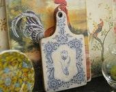 Shabby Delft Chopping Board/Trivet for Dollhouse