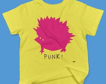 Cody the Punk Hedgehog  in bright pink- childrens' organic cotton t shirt