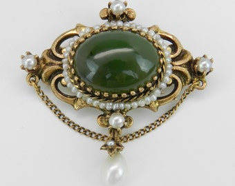 Antique Victorian 14K Yellow Gold Jade and Pearl Dangle Brooch Pin Pendant