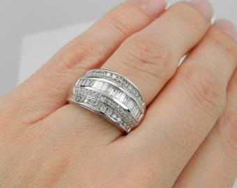 1.00 ct Diamond Wedding Ring Anniversary Band White Gold Size 7 Sizable