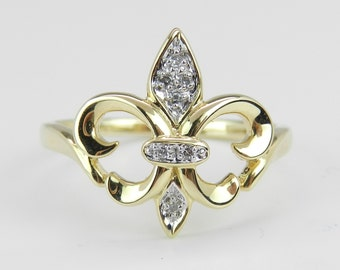 Diamond Fleur De Lis Ring 14K Yellow Gold Size 8.25